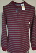 Club Room Menand039s Size Small Cotton Striped Shirt Cherry/charcoal