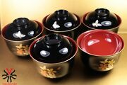 X5 Cups Japanese Rice Hanae Mori Chiki Chic Lacquerware Made In Japan Gold Deco