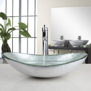 Us Bathroom Silver Oval Glass Vanity Basin Bowl Vessel Sink Mixer Chrome Faucet