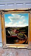 Thomas Wolfeearly 20cfranceoil On Canvas Painting Of A Large French Manor