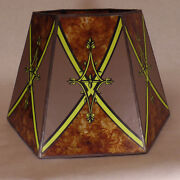 7x12x7 1/2 Decorated Antique Amber Hexagon Style Mica Uno Floor Lamp Shade