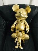 Disney Store Mickey Mouse Plush Gold Collection 90th Large And Smallin Hand Now