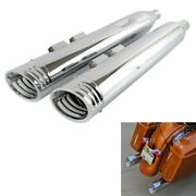 Slip On Mufflers 4 Exhaust Pipe For Harley Touring 1995-2016 Bagger Pair Chrome
