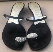 Authentic Guiseppe Zanotti Black Leather With Crystal Toe Ring Sandal 36.5/6.5