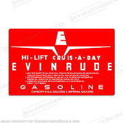 Evinrude 1959 6 Gallon High Lift Cruis-a-day Fuel Tank Decals - Set Of 2