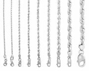 Solid 14k White Gold 1mm-7mm Rope Chain Link Pendant Necklace Men Women 16- 30