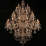 Candle Crystal Chandelier Four-story Modern Villa Building Long Hanging Lamps