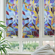 Us Ship Static Cling Frosted Stained Flower Glass Window Film Sticker Home Decor