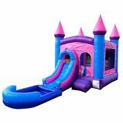 Pogo Pink Inflatable Bounce House Slide Pool With Blower Backyard Wet/dry Combo