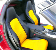 Chevy Corvette C6 2005-2013 Black/yellow S.leather Custom Made Front Seat Covers