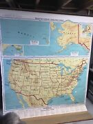 Denoyer-geppert 1962 United States Geographical Pull Down Map Huge