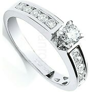 Certificated Diamond Solitaire Ring 18 Carat White Gold 0.50ctw Large Sizes R-z
