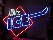 Rare Original Miller Lite Ice Guitar Beer Neon Sign Comes With Stand And Metal Tr