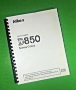 Laser Nikon D850 Basic Camera 274 Page 8.5x11 Owners Manual Guide