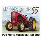 Massey-harris 55 Tractor More Acres Behind You Farm Picture Metal Ad Sign Gift