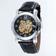 Skeleton Men Wrist Watch Automatic Mechanical Casual Blue Arrows And Leather Band