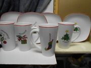 Fitz And Floyd Gourmet Christmas Latte Set For 4 Plates And Mugs