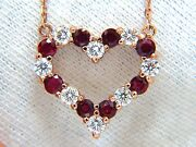 2.58ct Natural Vivid Red Ruby Diamond Heart Necklace 14kt+