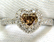 1.37ct Natural Fancy Bright Brown Heart Cut Halo Diamond Ring 14kt Vs+