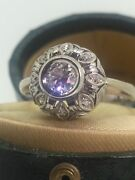 An Art-deco 18k White Gold And 0.35ct Old-european Cut Diamond Cluster Ring