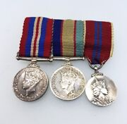 Sterling Silver Ww2 Australian Miniature Dress Medals And Queen Elizabeth Crowned
