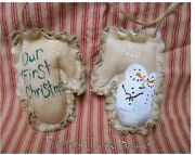 Our First Christmas Snowman Mitten Ornament Hp Ornie Folk Art Primitive Country