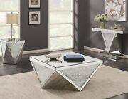Contemporary Glam Mirrored Cocktail Coffee Table Set End And Sofa Table Options