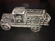 1920s Cast Iron Model-t Ford Stake Truck In Original Paint 7 Inches