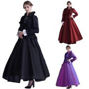 Vintage Victorian Gothic Court Style Party Blouse Skirt With Crinoline 4 Colors
