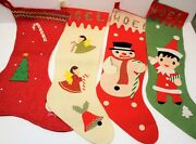 Vintage Christmas Stockings Decorations Made In Japan And Handmade Lot Of 4