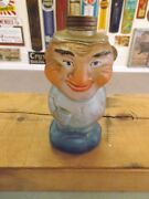 Vintage Glass Jar Man Whiskey Decanter Container Gas Oil Soda Cola