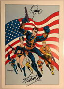Marvel 1978 Nick Fury Shield Pin Up Poster Hand Signed Steranko And Stan Lee W Coa