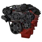 Stealth Black Chevy Lsa And Ls9 Serpentine Kit - Power Steering And Alternator