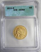 1911-d Indian Head 5 Half Eagle Gold Coin Authenticated And Graded By Icg Au58