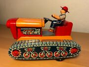 Vintage Ko Japan Tin Battery Op Super Tractor Mystery Action Toy With Driver