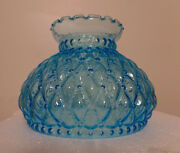 New 7 Diamond Quilted Light Blue Glass Oil Student Lamp Shade Crimp Top Ps663