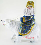 Santa Claus On White Bear Ded Moroz Russian Wooden Carved Hand Painted 25