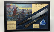 Civil War Era Knife, Fork, And Pottery Set In Glass Topped Display Case With Coa