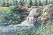 Sage Burks Original Waterfall Acrylic Impressionist Painting 36and039x24and039 Landscapeandnbsp