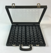 16x15x2 Portable Handle Glass Top Display Case With 72 1/2 Dollar Lucite Cups