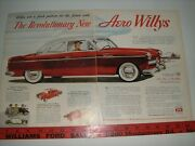 1952 Willys Aero Ace Full-color X-large Vintage Ad From Private Estate--mint 52