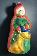 Glass Hand Painted Ornament From Germany Mrs. Claus With Puppy 6.5 Tall