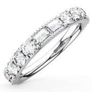 1.00ct Round And Baguette Cut Diamonds Half Eternity Ring Wedding Ring In 18k Gold