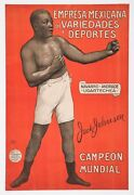 1910and039s Jack Johnson Original Antique Spanish Advertising Poster 13 X 20 Boxing