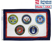 U.s. Armed Forces All 5 Branches Military Durable All-weather Nylon Flag