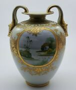 Nippon Antique Noritake Beaded And Hand Painted Vase -gold Gilded C1911
