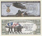U.s. Air Force Mission Million Dollar Bill Funny Money Novelty Note +free Sleeve