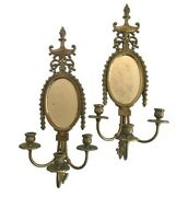 Sleek And Sophisticated Pair Of Antique Louis Xv Bronze Mirrored Wall Sconces
