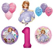 Disney's Sofia The First 1st Happy Birthday Party Balloons Decoration Supplies B