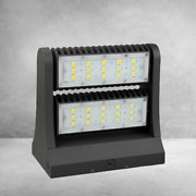 80w Led Wall Pack, Rotatable Heads - 5700k - Bronze Outdoor Lamp Light Fixtures